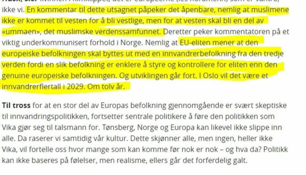 FÅR ETTERSPILL: Innlegget til Inger Lexow (Frp) skal tas opp partiets bystyregruppe i Tønsberg etter jul. Foto: Skjermdump fra Tønsbergs Blad