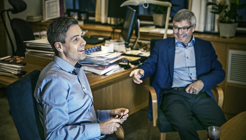 Legger planer: KrF-leder Knut Arild Hareide jobber med planene for å gi partiet regjeringsmakt. KrF-nestor Kjell magne Bondevik følger med – og gir klar beskjed hvis det er noe han er uenig i.Foto: Jørn H Moen / Dagbladet