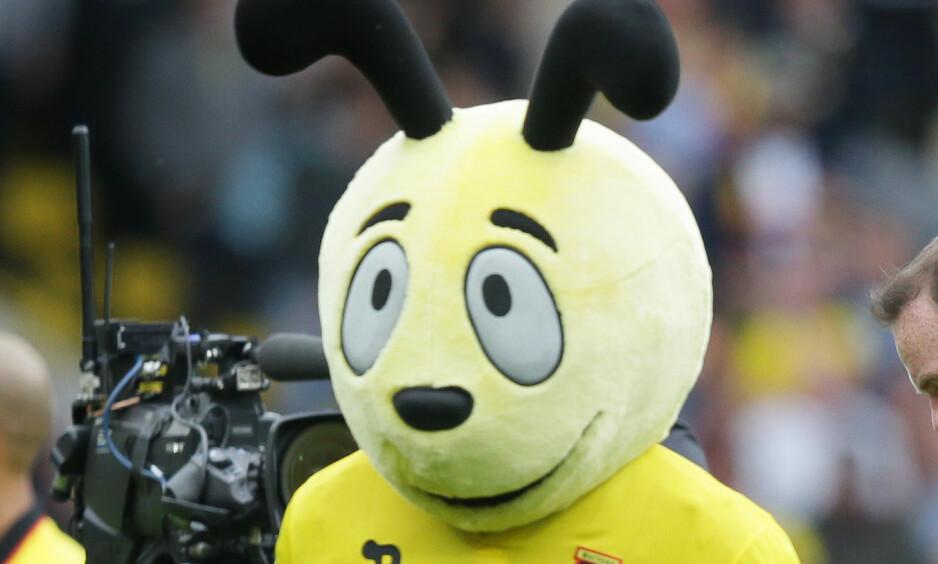 SPRELL: Watfords maskot Harry The Hornet gjorde narr av Wilfried Zaha etter kampen mot Crystal Palace. Det falt ikke i god jord hos Sam Allardyce. Her er maskoten etter en kamp mot Manchester United tidligere i høst. Foto: AP Photo/Tim Ireland / NTB Scanpix