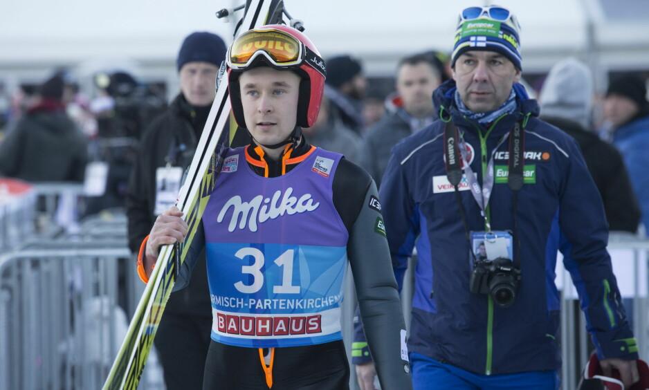 SLITER: Jarkko Maeaettae representerer et Finland som ligger nede for telling. Her fra gårsdagens kvalifisering i Garmisch-Partenkirchen. Foto: Terje Bendiksby / NTB Scanpix