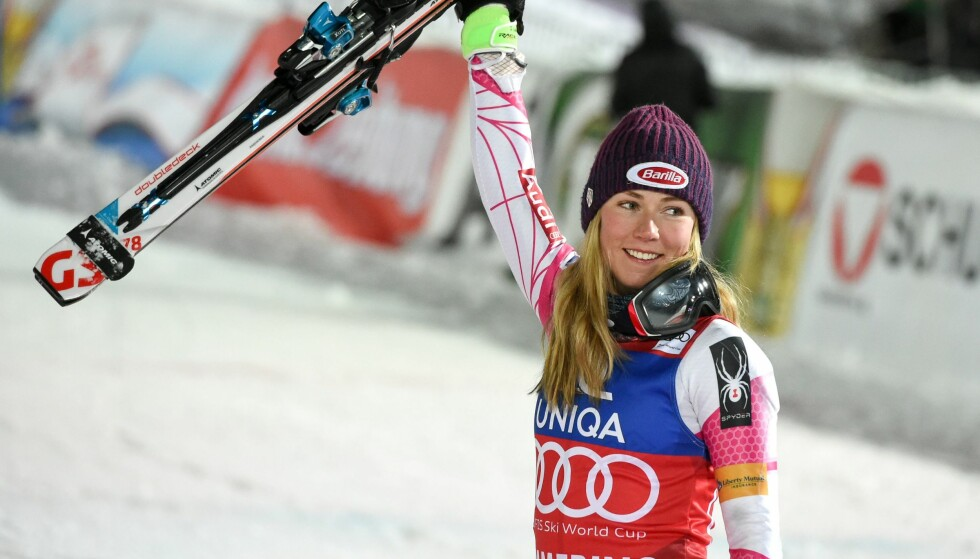 Winner Mikaela Shiffrin of the USA celebrates after the FIS Alpine Ski World Cup Women's Slalom on December 29, 2016 in Semmering, Austria. / AFP PHOTO / APA / Erich SPIESS / Austria OUT