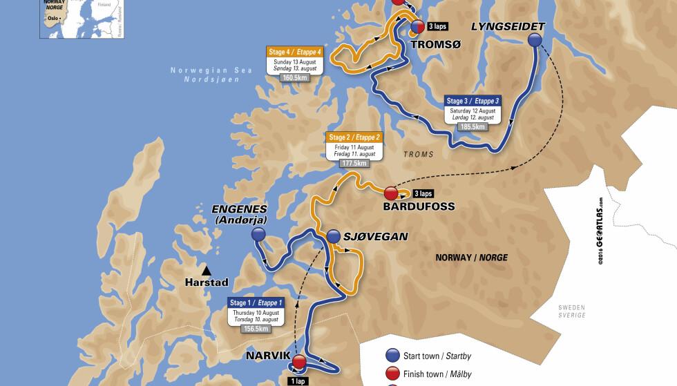 FOKUS PÅ TROMS: Fire etapper i Troms fylke fra Narvik i sør til Tromsø i nord, betegner den femte utgaven av Arctic Race of Norway.