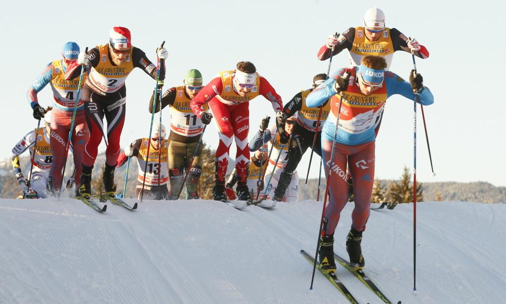KAOS?: Sergej Ustjugov leder Tour de Ski. Her sammen med Martin Johnsrud Sundby (t.v.) og Emil Iversen (t.h.) Foto: Terje Pedersen / NTB scanpix