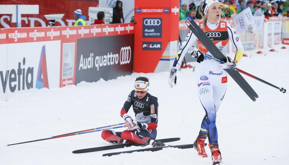 VANT IGJEN: Stina Nilsson tok sin tredje etappeseier i Tour de Ski etter en ny overlegen spurt. Heidi Weng ble nr. 2. Foto: Terje Pedersen / NTB scanpix