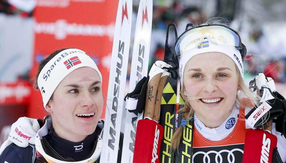 AVGJØRES I DAG: Stina Nilson leder Tour de Ski sammenlagt, men Heidi Weng og Krista Pärmäkoski vil gi svensken kamp om sammenlagtseieren i dag. Foto: Terje Pedersen / NTB scanpix