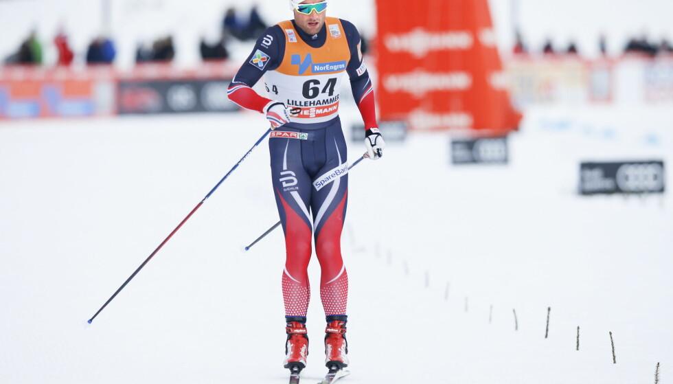 SIST SETT HER: Petter Northug gikk over målstreken som 51. beste skiløper på ti kilometer fristil på Lillehammer i begynnelsen av desember. Siden har han ligget på sofaen. Foto: Terje Pedersen / NTB Scanpix