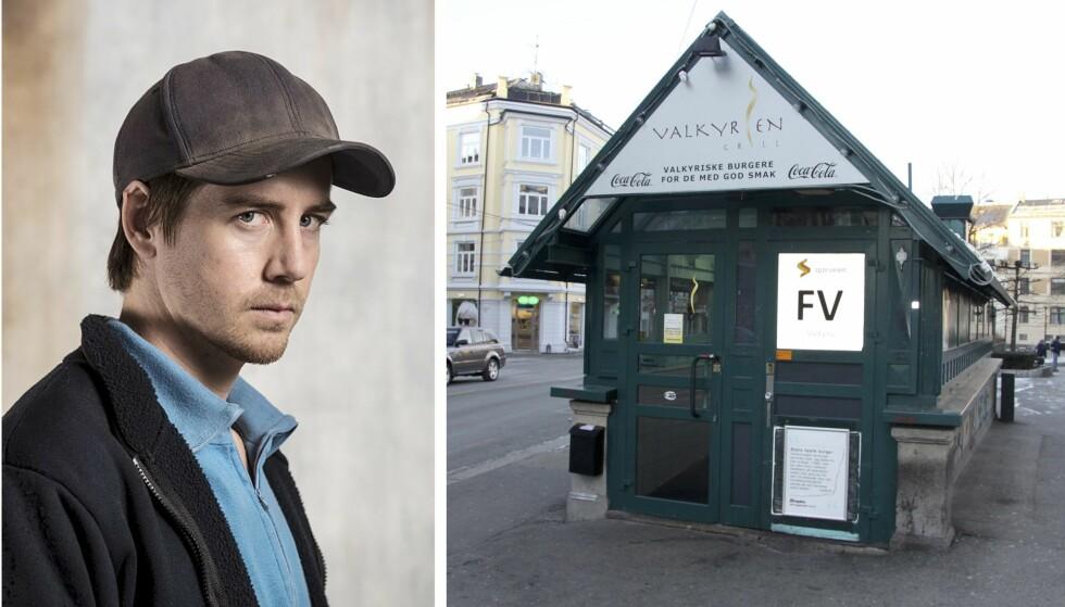VALKYRIEN GRILL: Pål Sverre Hagen - som spiller Leif i TV-serien - har flere møter på Valkyrien Grill. (Foto: NRK)
