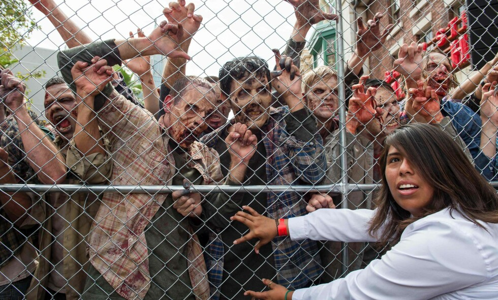 SKREKKSCENARIO: Menneskene stiller med dårlige odds under en zombie-epidemi, ifølge studentene ved Universitetet i Leicester. Her fra den nye «Walking Dead»-attraksjonen i Universal Studios i Hollywood. Foto: Valerie Macon / AFP / NTB Scanpix