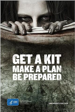 OFFENTLIG KAMPANJE: I 2014 kjørte det amerikanske folkehelseinstituttet (CDC) en kampanje der de oppfordret folk til å være forberedt på en zombie-apokalypse. Plakat: CDC