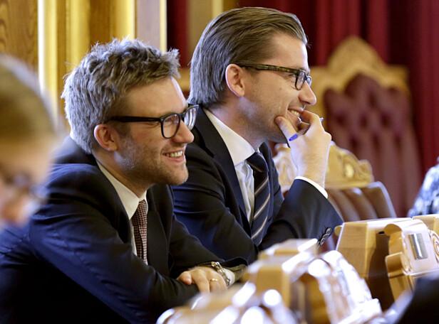 TALSPERSON: Stefan Heggelund er Høyres energipolitiske talsperson og medlem av Stortingets energi- og miljøkomité. Her sammen med klima- og miljøminister Sveinung Rotevatn (V). Foto: Vidar Ruud / NTB scanpix
