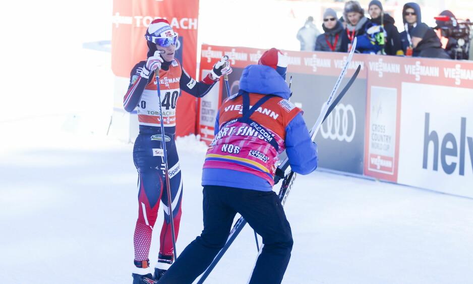OVERTOK LEDELSEN: Heidi Weng ble beste norske på 5. plass i dag, men er likevel ny sammenlagtleder i Tour de Ski. Foto: Terje Pedersen / NTB scanpix