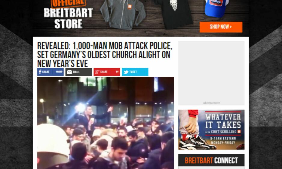 AVSLØRT: Denne uka publiserte nettstedet Breitbart News en historie fra nyttårsfeiringen i Dortmund, der de påsto at muslimske menn angrep politiet. Nå er historien avslørt som løgn. Foto: Faksimile