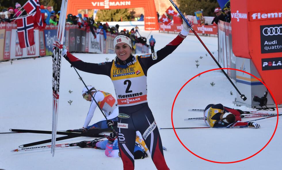 MÅTTE FORDØYE TOUREN: Ingvild Flugstad Østberg ble liggende lenge og tenke på pallen som glapp, da hun kom i mål på dagens etappe. Foto: Giuseppe Cacace/ AFP / NTB Scanpix