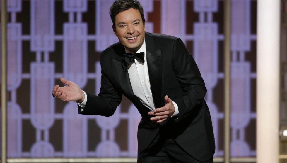 TEKNISKE PROBLEMER: Golden Globe-vert Jimmy Fallon måtte slite med tekniske problemer under åpningen av nattas Golden Globe-seremoni. Foto: Paul Drinkwater/NBC/AP/NTB Scanpix