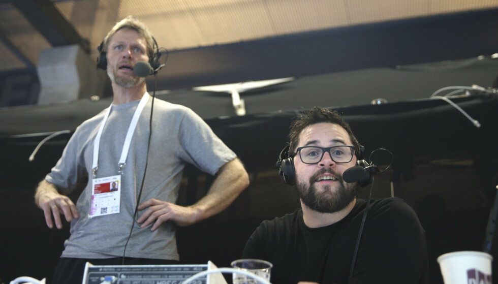 BLIR HJEMME: NRKs radioteam, her ved håndballekspert Øystein Havang og kommentator Patrick Sten Rowlands reiser ikke til VM i Frankrike. Foto: Vidar Ruud / NTB scanpix