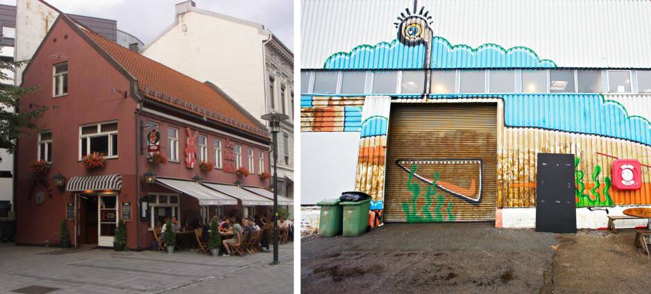 NYE MATSTEDER: I lokalene til Den Røde Mølle (t.v) i Brugata i Oslo overtar gjengen bak cocktailbaren Himkok. Her blir det øl, mat og uteservering. Ytterst på Vippetangen åpner Vippa, et nytt senter for mat og kultur. Foto: Morten Holm og Dan P. Neegaard/NTB SCANPIX Fotomontasje:DAGBLADET.