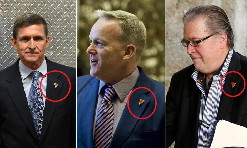 PIN: Sikkerhetsrådgiver Michael Flynn, pressesekretær Sean Spicer, og seniorrådgiver og sjefsstrateg Steve Bannon bærer alle den lille røde pinen når de skal inn for å møte sjefen. Foto: NTB Scanpix