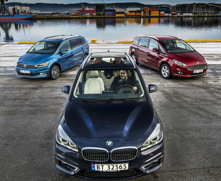 TRE POPULÆRE BILER: Flerbruksbilene VW Touran, BMW 2-serie og Ford S-Max. Foto: Jamieson Pothecary