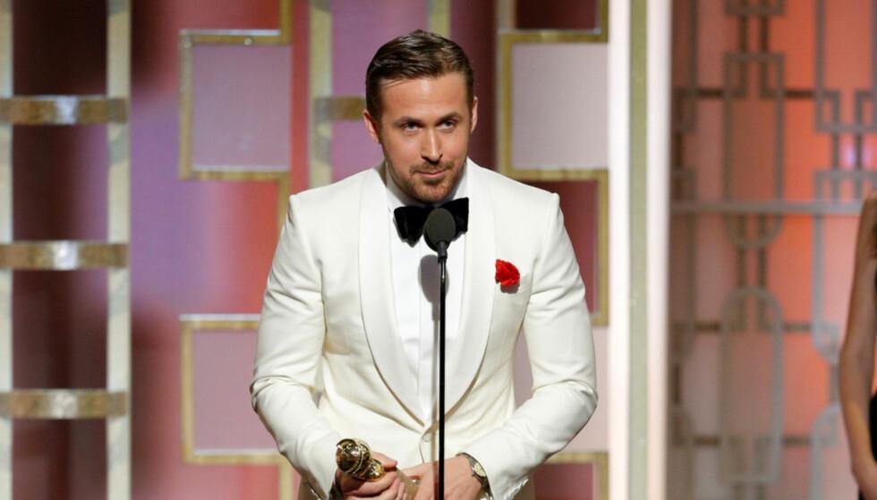 VANT: Ryan Gosling ble kåret til beste mannlige skuespiller for sin rolle i «La La Land». På scenen takket han både kona og sin døde svoger for støtten. Video: Hollywood Foreign Press Association/DCP Rights, LLC via CNN
