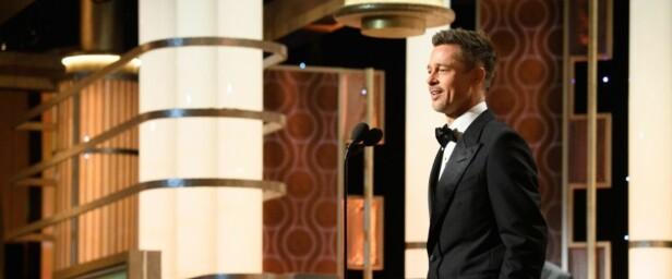 <strong>TALE:</strong> Brad Pitt så relativt avslappet ut da han gjorde sin første prisutdeling-opptreden siden det mye omtalte bruddet med Angelina Jolie. Foto: Hollywood Foreign Press Association / EPA / NTB Scanpix