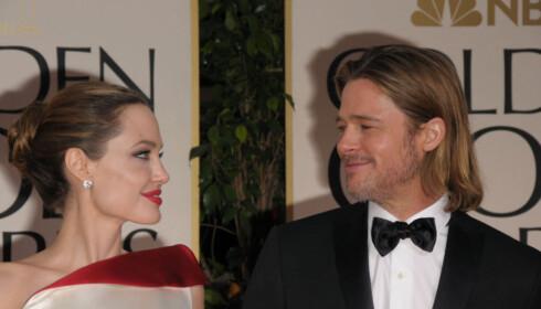 <strong>GODE TIDER:</strong> I år kom Brad Pitt alene på Golden Globe. I 2012 strålte han imidlertid på prisutdelingen sammen med Angelina Jolie. Foto: NTB Scanpix
