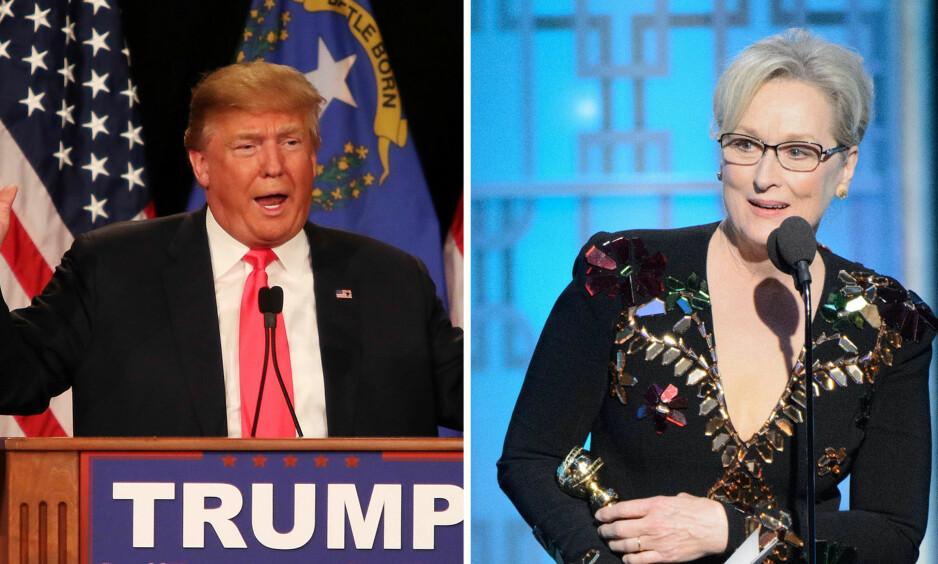 STOR KRANGEL: Donald Trump og Meryl Streep har det siste døgnet klart å skape stor debatt i sosiale medier. Streeps tale under Golden Globe handlet i stor grad om den påtroppende presidenten, noe hun har fått store mengder skryt for. Det er derimot ikke alle som heier på skuespilleren. Foto: NTB scanpix