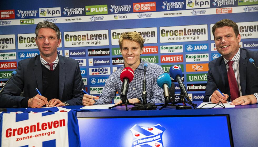 NESTE STEG: Martin Ødegaard ble tirsdag presentert som Heerenveen-spiller. 18-åringen hentes på lån fra Real Madrid. Foto: Michael Kooren / NTB scanpix