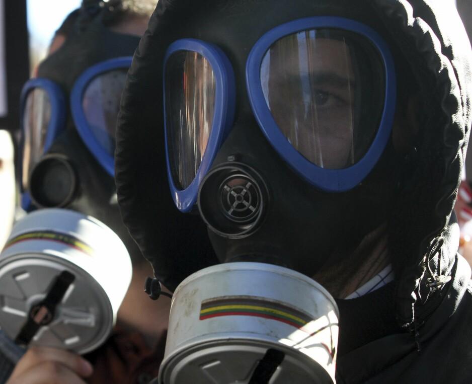 DEMONSTRASJON: Demonstranter brukte i 2013 gassmasker under en demonstrasjon mot at syriske kjemiske våpen skulle destrueres i Albania. Foto: Arben Celi / Reuters
