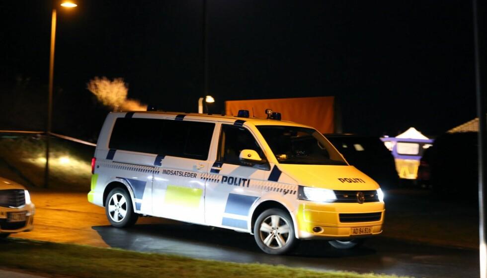 FANT SEKS OMKOMNE: Mandag fant dansk politi seks døde personer i et hus i Ulstrup på Jylland i Danmark. Foto: HANSSON KRISTER  / Aftonbladet / IBL Bildbyrå