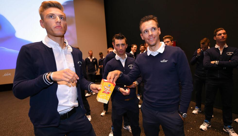 IT'S POPCORN TIME! Marcel Kittel og Philippe Gilbert fikk spørsmål om bruk av medisinske fritak i Team Sky under onsdagens pressetreff. Kittel var klar i sin tale om hva han tror skjer med Bradley Wiggins ettermæle. FOTO: Tim De Waele/TDWSPORT.COM
