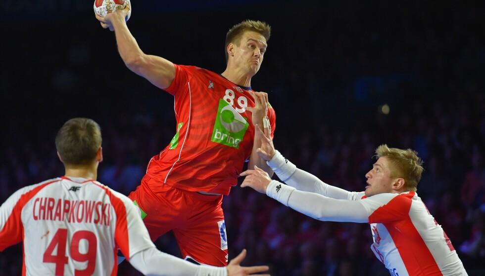 TOPPSCORER: Espen Lie Hansen satte seks mål i seieren mot Polen. Foto: AFP PHOTO / LOIC VENANCE