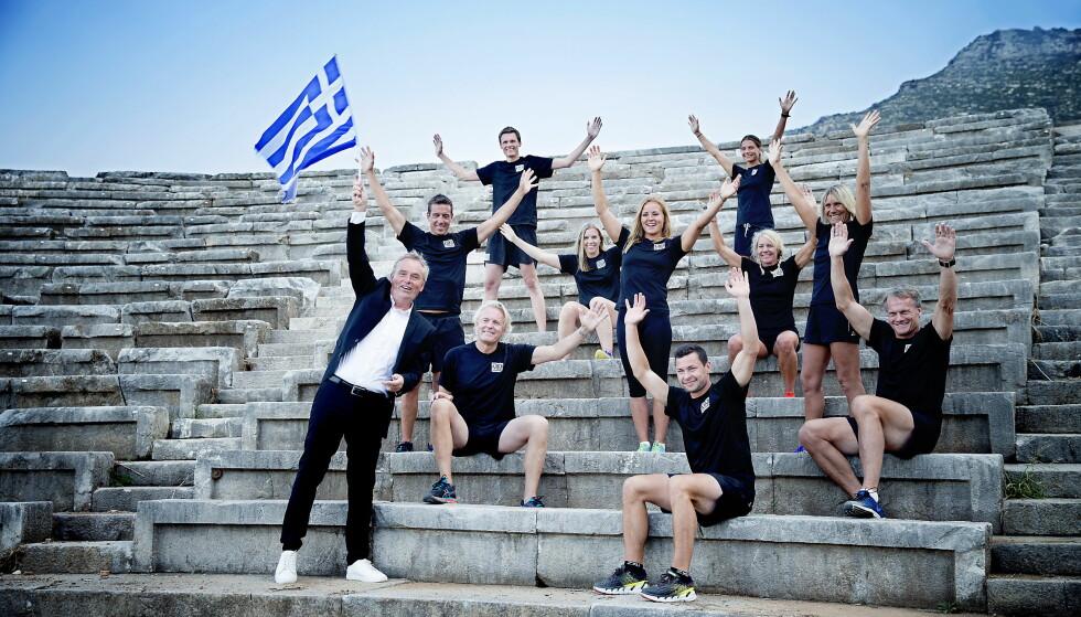 GOD STEMNING: De tidligere idrettsutøverne knyttet tette bånd i Hellas under inspillingen. Foto: Bjørn Langsem / DAGBLADET
