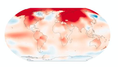 VARMESTE MÅNED; VARMESTE ÅR: Februar i fjor var den varmeste noen sinne målt, verden sett under ett. Det samme var 2016. Bilde: NASA