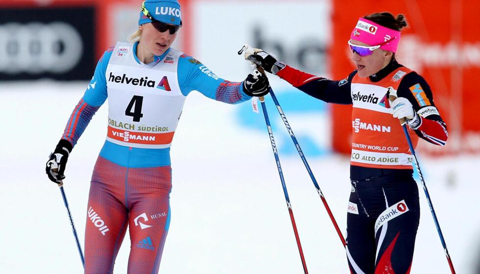 I SUPERSLAG: Natalja Matvejeva satte sprintdronninga Maiken Caspersen Falla på plass i to av to sprinter i helga. Russisk kvinnelangrenn vant to sjeldne triumfer. Foto: NTB Scanpix