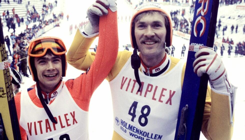 VANT, VANT IKKE: Ernst Vettori (t.v.) vant aldri verdenscupen. Her med Trond Jøran Pedersen i Holmenkollen. Her sammen med vinner Ernst Vettori. Foto: NTB Scanpix