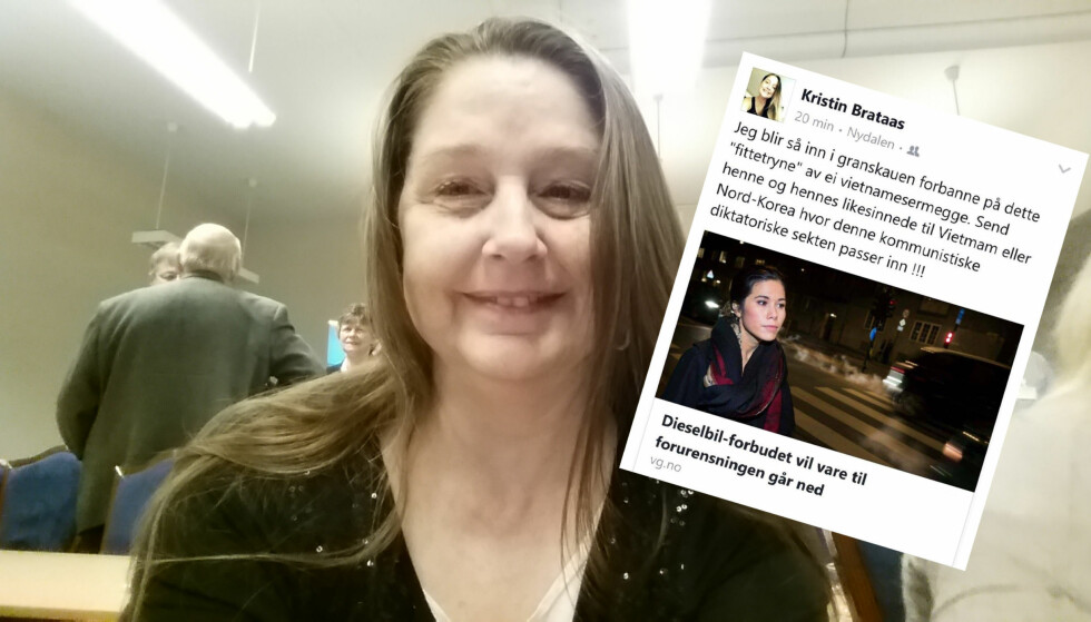 SINNA: Kristin Brataas ble sinna på dieselforbudet i Oslo og lot det gå ut over MDGs Lan Marie Nguyen Berg på sin egen Facebook-side. Foto: Privat/Facebook.