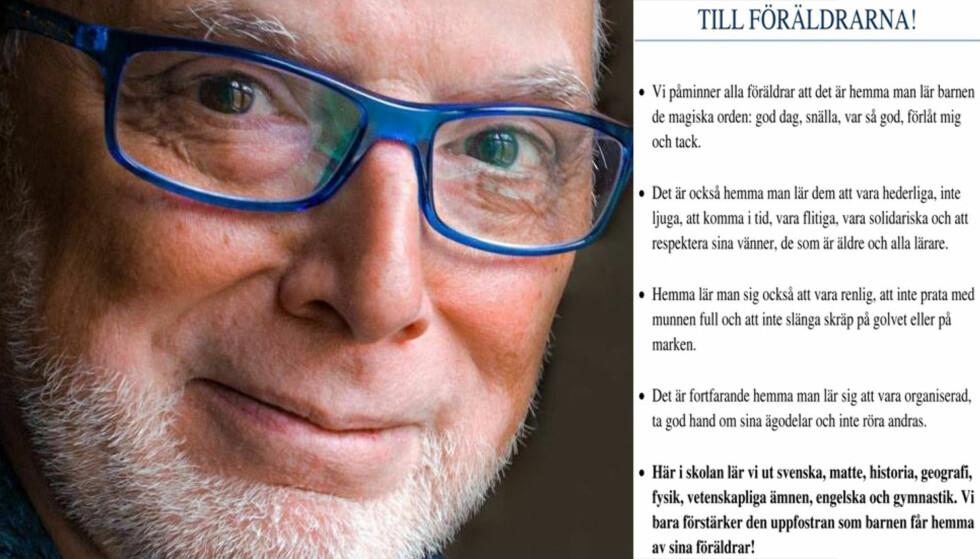 «TIL FORELDRENE»: Den pensjonerte læreren Paulo Gandro synes ikke oppdragerrollen må legges på lærerne. Foto: Anders Rosenberg / Privat