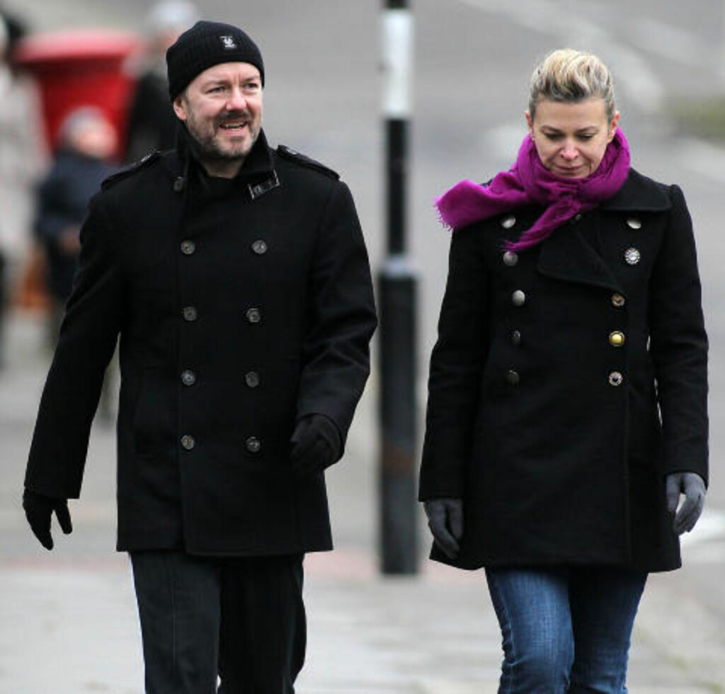 HAR MED SEG KJÆRESTEN: Ricky Gervais kjæreste siden 1982, Jane Fallon, er med på stjernekomikerens Oslo-besøk. De to bor på Grand Hotel. Foto: Stella Pictures