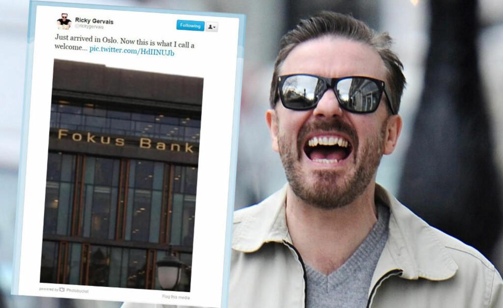 SPØKTE OM NORSK BANK: Den britiske stjernekomikeren Ricky Gervais skal denne helga holde to show på Folketeateret i Oslo. Før det tar han seg imidlertid tid til å spøke litt om norske Fokus Bank på Twitter. Foto: Stella Pictures / Faksimile Twitter
