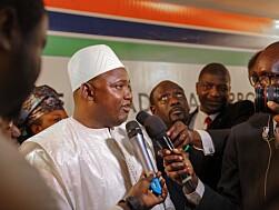 NYVALGT: President Adama Barrow vant valget i desember 2016.- Dette er en dag ingen gambier noensinne vil glemme, sa Barrow etter å ha avsagt eden.Foto: Xinhua/Sipa USA