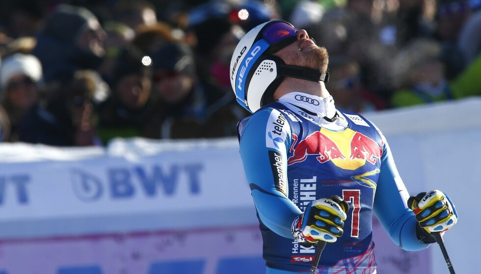 Norway's Kjetil Jansrud gets to the finish area after completing an alpine ski, men's World Cup downhill, in Kitzbuehel, Austria, Saturday, Jan. 21, 2017. (AP Photo/Giovanni Auletta)