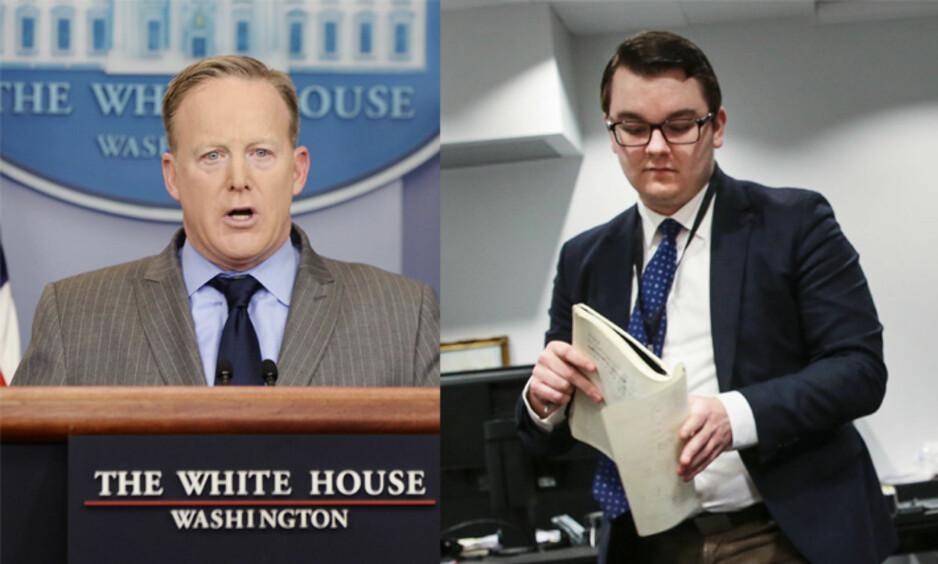 PRESSETALSMENN: Sean Spicer (t.v.) har allerede markert seg som president Trumps pressesektretær. Espen Teigen (t.h.) har gjort det samme som innvandringsminister Listhaugs rådgiver - men tar avstand fra Spicers stil overfor media. Foto: Rex, Aftenposten / NTB Scanpix