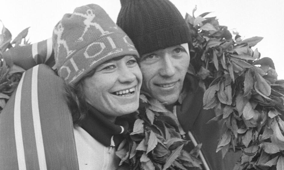LAUBÆRKRANS: Lisbeth Korsmo sammen med Kay Stenshjemmet under NM i 1976Foto: Erik Thorberg NTB / Scanpix