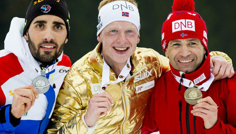 TAKK DE GAMLE: Johannes Thingnes Bø og resten av yngre, ærlige skiskyttere kan takke Martin Fourcade og Ole Einar Bjørndalen for at utøverne ser ut til å presse igjennom harde tiltak mot dopsvindel. FOTO: Vegard Wivestad Grøtt / NTB scanpix.
