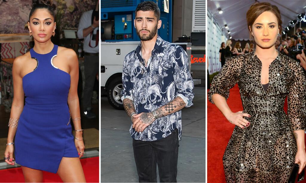 ÅPNE: Nicole Scherzinger, Zayn Malik og Demi Lovato er blant stjernene som har valgt å fortelle om sine spiseproblemer. Foto: NTB scanpix