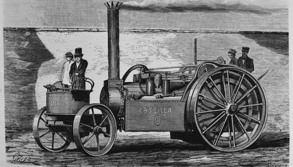Tegningen skal vise den første automobil som kjørte i Madrid. Årstallet er angitt til 1861. BIldet er fra Madrids historiske museum.