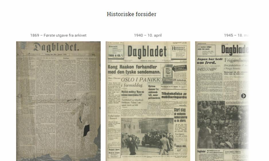 HISTORISKE FORSIDER: I Dagbladets digitale arkiv kan du bla deg helt tilbake til våre utgaver fra 1869.