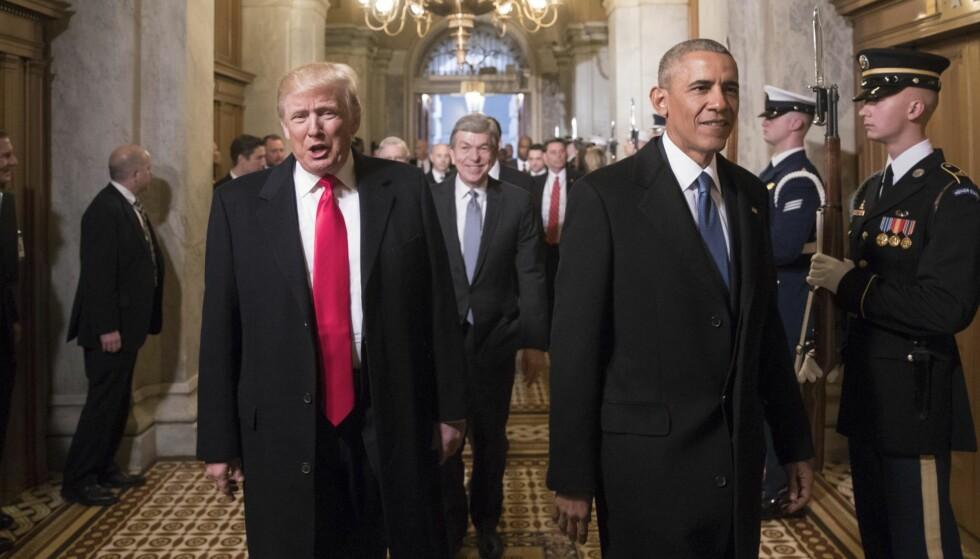 FOR ENKELT: Vår kritikk av eventuelle feil hos Donald Trump må ikke begrense seg til å rose Barack Obama, skriver kronikkforfatteren. Foto: DPA / NTB Scanpix