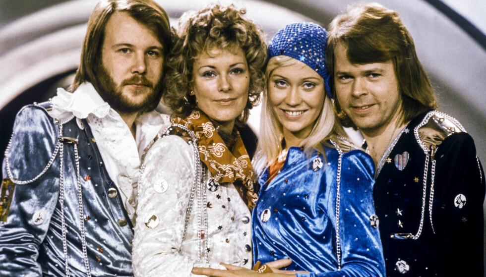 <strong>ABBA:</strong> Den svenska popgruppen Abba regjerte på 70 og 80-tallet fr. v. Benny Andersson, Anni-Frid Lyngstad, Agnetha Fältskog och Björn Ulvaeus etter de vant melodifestivalen i Sverige med sitt bidrag «Waterloo». Foto: Olle Lindeborg / TT&nbsp;