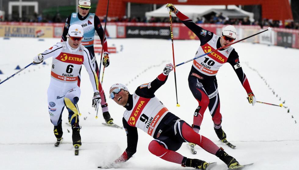 FORBANNET: Emil Iversen har aldri vært sintere enn han var etter målgang i Lahti dag. Foto: Ulf Palm/TT / NTB scanpix